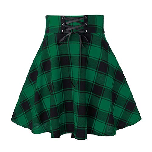WHSHINE Damen Plaid Skater Röcke, High Waisted Bandage Tartan Minirock, Checked A Line Rockkleid, Plus Size S-2XL