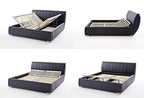 sette notti  Polsterbett Bett 180x200 Schwarz mit Bettkasten, Kunstleder-Bett mit Liegefläche 180x200 cm, Bern Art Nr. 665-99-50000