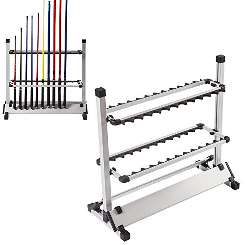 sujrtuj Soporte vertical para caña de pescar de color blanco, soporte para 24 cañas de pescar de aleación de aluminio