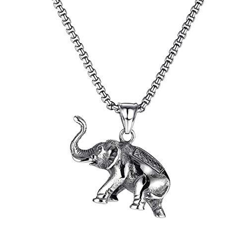VAWAA Acero Inoxidable Vintage Thai Animal Elefante Colgante Collar Moda Hombres Cool Tendencia Elefante Collares joyería Regalo para él