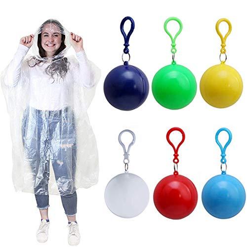 VIONNPPT 6er Set Outdoor Portable Regenmantel Ball, Durchsichtig Damen Herren Einweg Notfall Regenponcho Regenjacke Poncho, Regencape, Regenumfang
