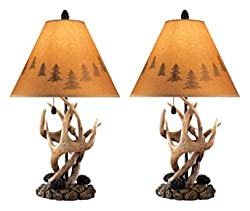 Antler table lamps with mountain shades