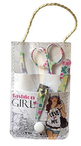 CS Beauty Kit Manucure Avec Lime , Petits Coupe-Ongles , Ciseaux Courbé , Pince A Epiler Biais & Pochette