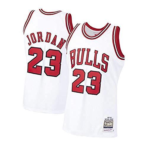 HGTRF Bulls 23# Jordans - Camiseta de Baloncesto para Hombre, Ropa de Hip Hop Retro de los 90 para Fiestas, Entrenamiento, Fitness, Chaleco Absorbente de Sudor, Secado rápido S White