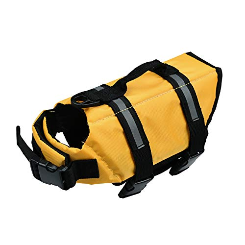 Chaleco Salvavidas para Perro con Flotador Delantero, Perros Seguridad Natación Ropa con Quick Release Ajuste Fácil Cinturón Ajustable (Amarillo, Medium)