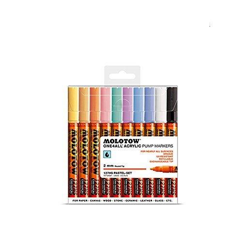 Molotow One4All 127 HS 10er Pastel Set 10 Marker Paint Lack Acryl 127HS Kit box by Molotow