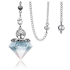 Aquamarine Dowsing pendulum Crystal Divination Tree Of Life Orgonite Pyramid Scrying Dowser Reiki Healing Stone Energy Generator for Divination, Protection, Energy Healing Balancing Meditation Decor