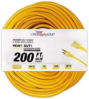 10/3 200ft SJTW Lighted End Extension Cord 15 Amp, 300 Volt, 1875 Watt, Super Heavy Duty Outdoor Jacket by LifeSupplyUSA (200 Feet)