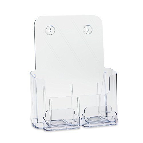 Deluxe Full Size 8.5 x 11 Inches Wall Mount or Counter Top Brochure Holder with 2 Gift/Business Card Holders