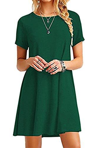 YMING Damen Kleid Kurzarm Tunika Rundhals Lose T-Shirt Kleid Casual Basic Kleid,Grün,XL/DE 42