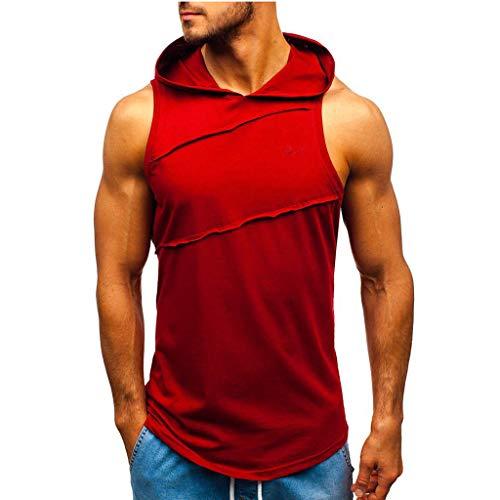 HEETEY Männer T-Shirt, Männer mit Kapuze gestreifte Spleißwestejacke Ärmelloser Patchwork-Kapuzenpullover Sommer T-Shirt Stehkragen Baumwolle-Anteil Männer Kurzarm-T-Shirt Sweatshirt
