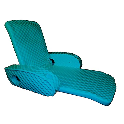 TRC Recreation Super Soft Portable Floating Swimming Pool Water Lounger Comfortable Adjustable Recliner Chair with 2 Armrest Cup Holders, Tropical Teal