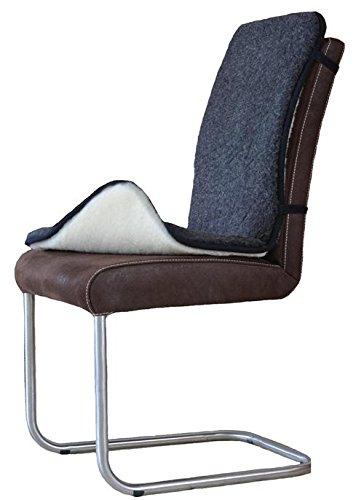 SamWo, 2er Pack Sitzauflagen/Sitzkissen mit Rückenlehne aus 100% Merinowolle, pflegeleicht, waschbar bei 30 Grad, Grösse 90x40, wollweiss/schwarz
