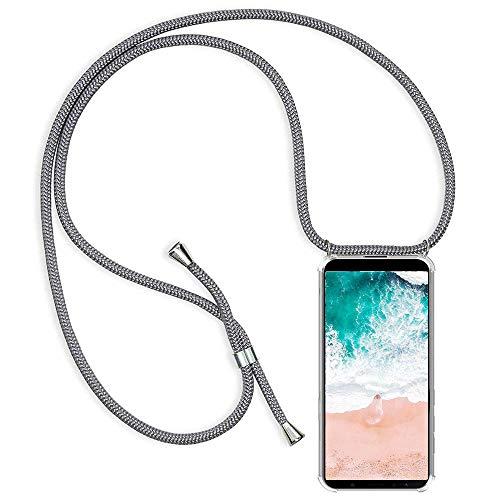 Funda para Xiaomi Redmi Note 4X con Cuerda, Xiaomi Redmi Note 4X Carcasa Transparente TPU Suave Silicona Case con Correa Colgante Ajustable Collar Correa de Cuello Cadena Cordón Anti-Choque, Gris