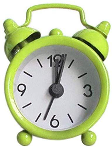 Creative Bedside Klok Cute wekker vintage retro stil wijzer klok rond getal dubbele klok luid Leuke wekker nachtkastje 's nachts licht woondecoratie groen