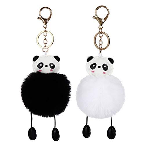STOBOK Porte-clés Panda en Peluche Mignon pour clé de Voiture Sac, 2pcs (Noir + Blanc)