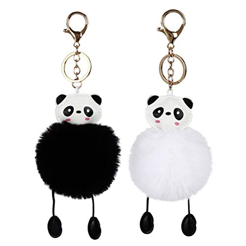 STOBOK 2 Stücke Plüsch Panda Schlüsselanhänger Niedlichen Panda Anhänger Ornament für Autoschlüssel Ring Bag Charme, Schwarz und Weiß