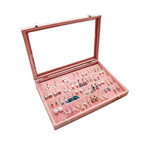 WNN - Organizador de pendientes URG de terciopelo transparente, tapa para pendientes y joyas, gran capacidad para iniciar joyas, vitrina con cerradura, color rosa URG