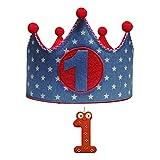 Kembilove Corona + Vela Primer Cumpleaños – Corona de Cumpleaños para Niño y Niña – Algodón y Fieltro de Máxima Calidad – Ideal para Fotos y Fiestas de Cumpleaños – Estrellas vaquero - rojo