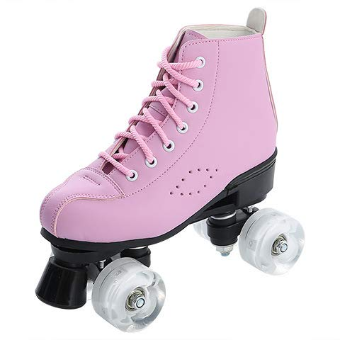 LYDF Damen Rollschuhe PU Leder High-Top Rollschuhe Erwachsene Doppelreihige Skates für Damen und Herren Blinkend Leuchtend Rollschuhe Rollschuhe Rollschuhe Spezial Eiskunstlauf Profi 38 Pink