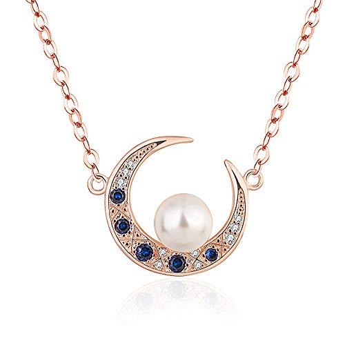QWJ Ladies Necklace Natural White Pearl Crescent Moon Pendant Necklace