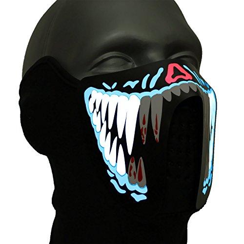 Ucult LED-Maske: Leuchtende Halloween Monstermaske soundaktive Gesichtsmaske Maske Gruselmaske Faschingsmaske Karneval