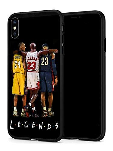 GONA iPhone X iPhone Xs Hülle für Basketball-Fans, weiche Silikon-Schutzhülle, dünn, kompatibel mit iPhone X/Xs (nur Legends-Kobe-Jordan-Lebron)