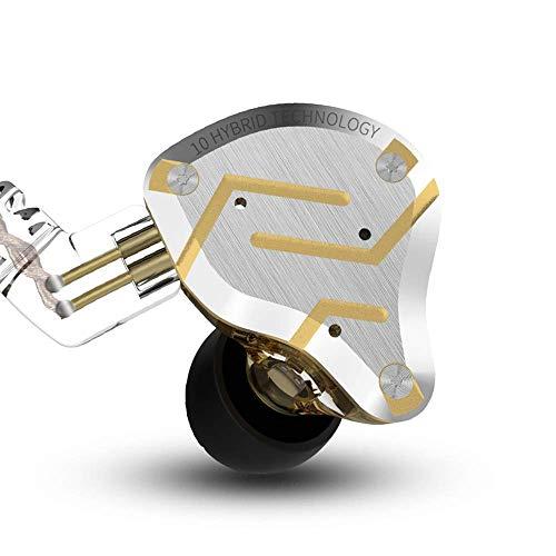 KZ ZS10 Pro 4BA 1DD IEM Auriculares de Diadema 4 Balanceados Armadura y 1 Dinámica de 5 Controladores Auriculares Hibridos(Glare Gold no Mic)