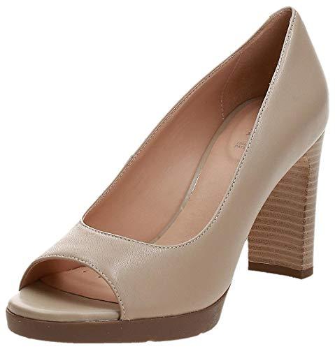 Geox D ANNYA High Sandal, Zapatos con Tacón y Punta Abierta Mujer, Beige (Beige C5000), 37 EU