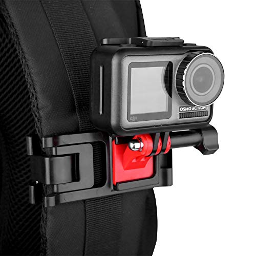 Universal GoPro Backpack Strap Mount, Adjustable Action Camera Clip Holder Clamp for GoPro Hero 8 Black 7/6/5/4, Session, Osmo Action, Insta 360 One R, Anti-Slide Outdoor Sport Rec-Mount Accessories