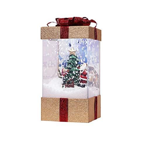 globalqi Musikalisches Schneekugel-Licht, Kasten-Wasser-Funkelnde spinnende Batterien betrieben Laterne Weihnachtsmann-Schneemann Christmastree dekorative Lampe