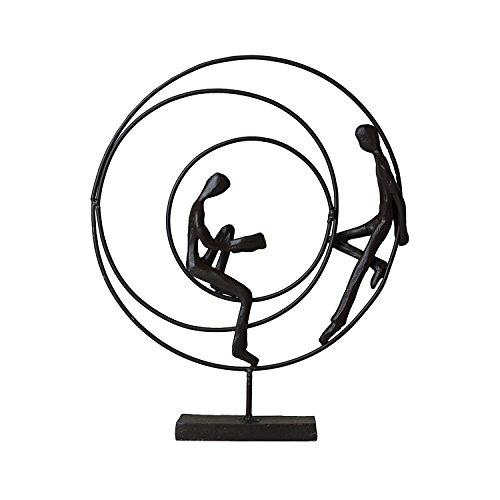 Casablanca - Skulptur, Design Figur - Circles - Höhe: 23 cm - Eisen brüniert