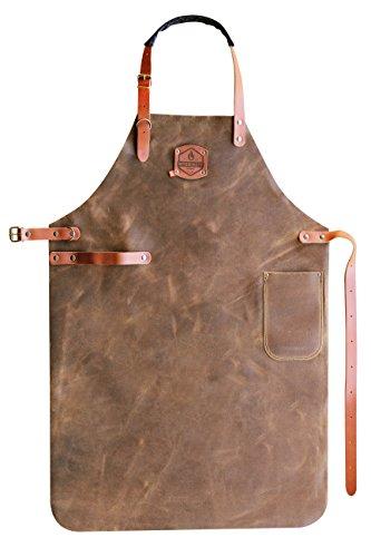 McBrikett Leder Grillschürze, 100% Echtleder, 82x60cm, Grill & BBQ Schürze