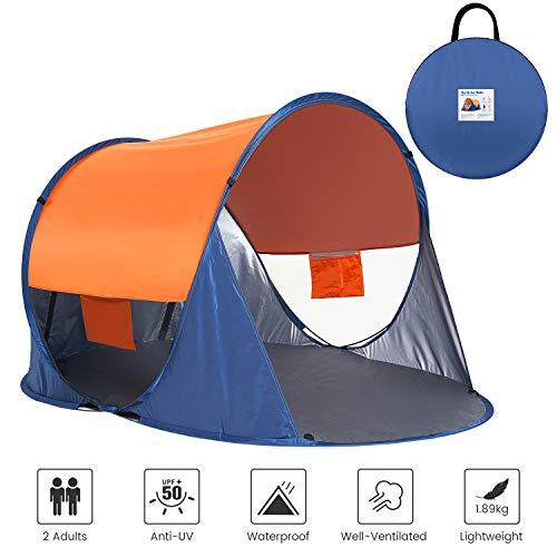 Asteri POP UP tenda da spiaggia anti-UV 50+ riparo automatico istantaneo per interni ed esterni spiaggia pic-nic blu/arancione