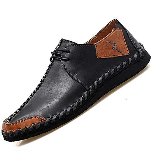 AONEGOLD Herren Business Halbschuhe Mokassins Freizeit Schuhe Breathable Handgemachte Lederschuhe beiläufige Schnüren Sich Oben Oxfords-Turnschuh-Schuhe 12319 Schwarz 46 EU