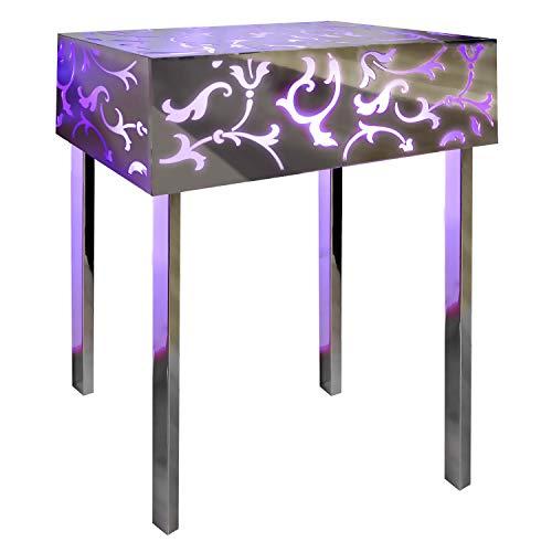 INSEGNESHOP Consolle tavolino Comodino cubo plexiglass, Lampada in Acciaio Luminoso a Specchio e plex Magenta/Esterno Giardino Soggiorno Camera