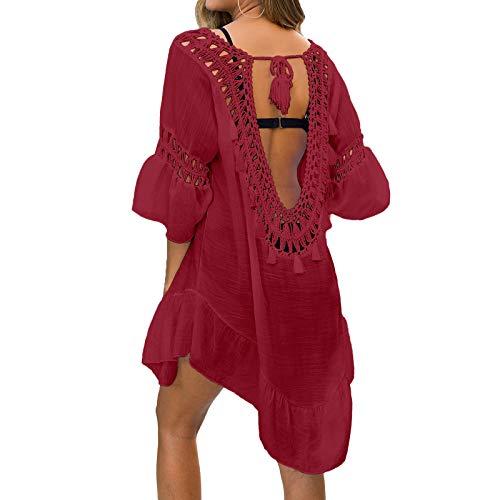 NIBESSER Strandkleid Damen Strandponcho Sommer Bikini Cover Up Strandurlaub Badeanzug Quasten Rückenfrei Strand Vertuschen Shirt Mini Kleid Beachwear (Weinrot,Plus)