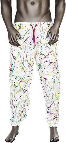 Funny Guy Mugs White Paint Splatter 80s & 90s Retro Neon Windbreaker Pants, Small