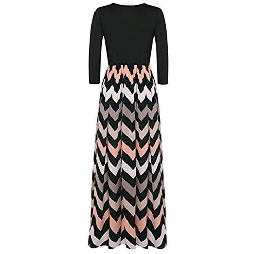 Womens 3/4 mouw gestreepte Boho lange jurk, Lady Beach zomer zomerjurk Maxi jurk, thuisbal