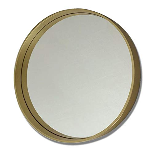 JJHOME-Miroirs Grand Miroir Mural Rond rétro en Bois doré - Panneau de Verre Rond Flottant de qualité supérieure - Décor avec Coiffeuse, Chambre ou Salle de Bain