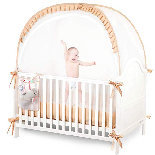 ZXPLO Baby Safety Crib Tent Nursery Canopy Netting Mesh Cover Pop-Up Mosquito Net to Keep Toddler from Climbing Out for Play or Sleeping Including Hanging Diaper Storage Bag