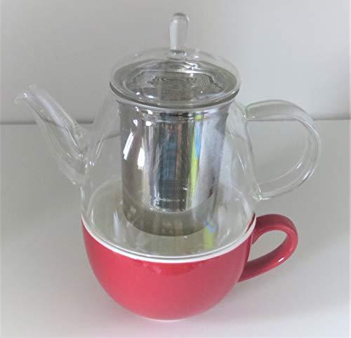 Cha Cult Tea for one Set Elin, rot 3-teilig, Glaskanne mit Edelstahlfilter und Porzellanfilter Kanne: 0,5 l/Tasse: 0,25 l