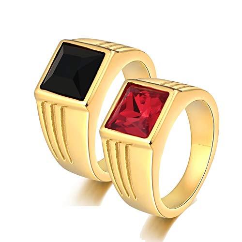 ANAZOZ 2 Stück Damen Herren Verlobungsring Edelstahl 10Mm Solitärring Siegelring Diamantring mit Zirkonia Damen Ringe Herren Hochzeit Ringe Paar Ringe Gold Frau:57 (18.1) & Mann:67 (21.3)
