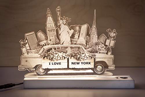 CREATIVA DIGITAL LAMPARA del Amor New York, Madera, Estampado, Unica