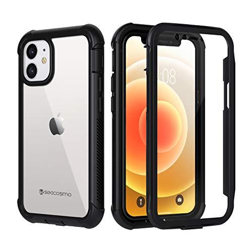 seacosmo Funda para iPhone 12 Mini, Carcasa Protectora de Cuerpo Completo con Protector de Pantalla Parachoques Transparente Funda Antigolpes 360 ° para iPhone 12 Mini 5.4''- Negro