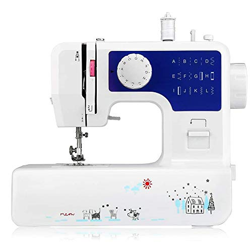 Portable Sewing Machine for Beginners, Household Electric Sewing Machine for Adult & Kids, Multi-Functional Hand-held Tailor Machine, 12 Floral Stitches/2 Speeds Double/Foot Pedal, Blue