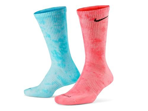 Tie Dye Nike Dri-Fit Crew Socks - Red Blue / Green Purple / Yellow Orange (Saphire/Green) (Blue/Red, Extra Large, x_l)