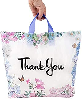 Floral Thank You Plastic Bags 50 Pack with Soft Loop Handle 12