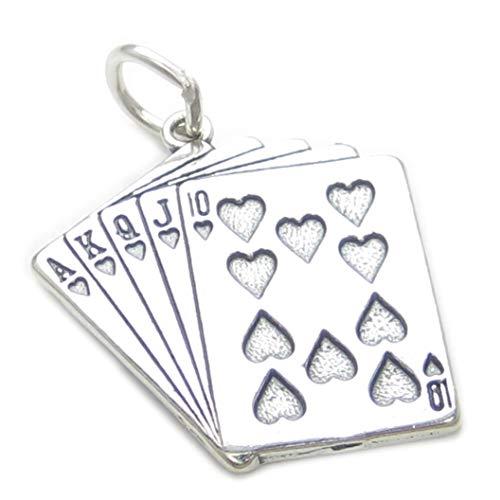 Spielkarten Sterlingsilber Charm .925 X1 Poker Whist Bridge Kartenspiele cf4101