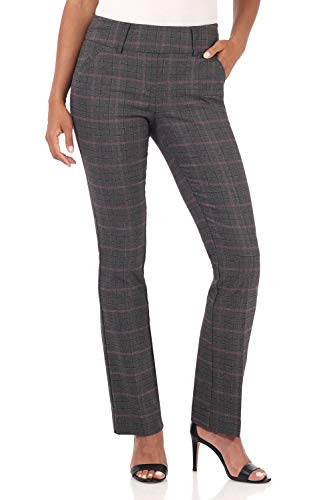 Rekucci Women's Ease into Comfort Classic Bootcut Pant w/Tummy Control (10,Charcoal/Ruby Red Plaid)